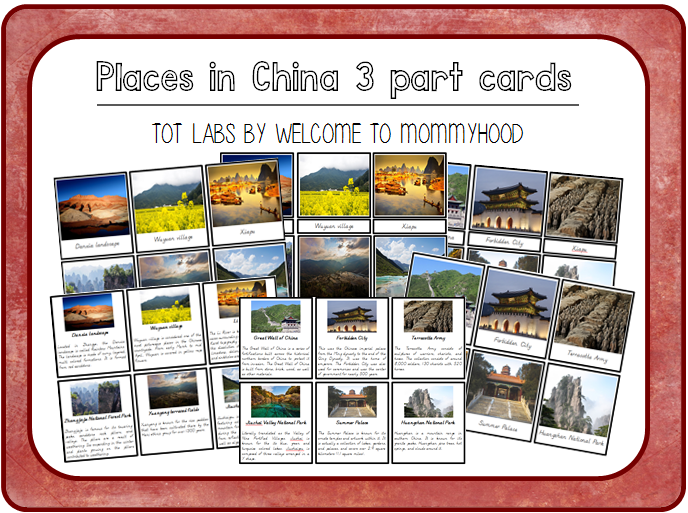 Montessori China 3 part cards by Welcome to Mommyhood. Perfect for Chinese New Year.   #totlabs, #montessori, #Montessoriactivities, #montessoriprintables, #chinesenewyear, #geographyactivities,