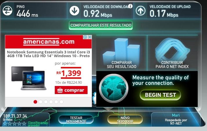 velocidade da internet teste 2