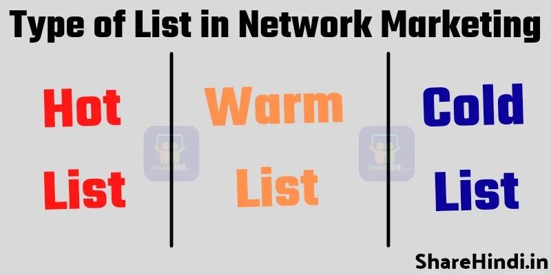 नेटवर्क मार्केटिंग में लिस्ट बनाने के प्रकार - Types of Listing in Network Marketing