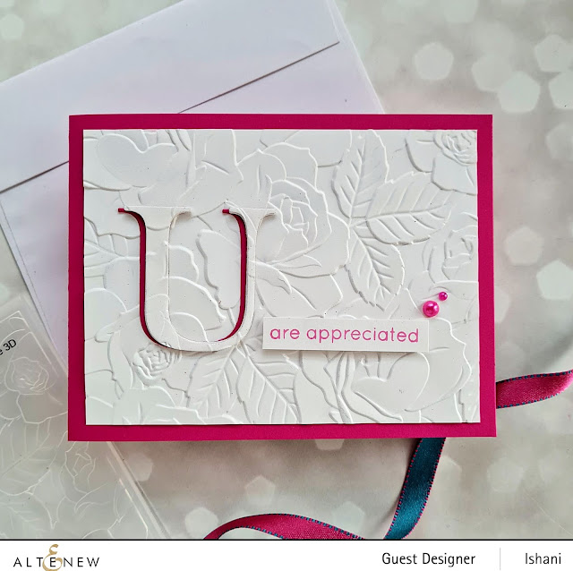 Spotlight embossing and eclipse die cutting technique with embossing flder, Altenew Roses card, Embossing folder card, Craft your life Project kit - Garden rose, How to use embossing folder video tutorial,  Altenew Garden rose, Rose card, heat embossing with embossing folders,  Quillish, Ishani