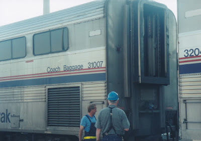 Amtrak Superliner I Coach Baggage #31007 at Midway Station in St. Paul, Minnesota, on July 25, 1999