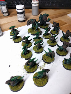 Flocked bases, waiting to dry before brushing off the excess