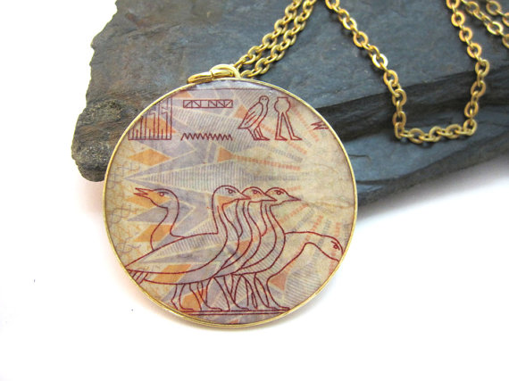 Jewellery, designer, Etsy, upcycled stamp jewelry, eco-friendly, accessories, postal stamp, Egypt, necklace, Urban Raven, Shiran Tal Soffrin, independent creations, chic jewelry, goldsmith