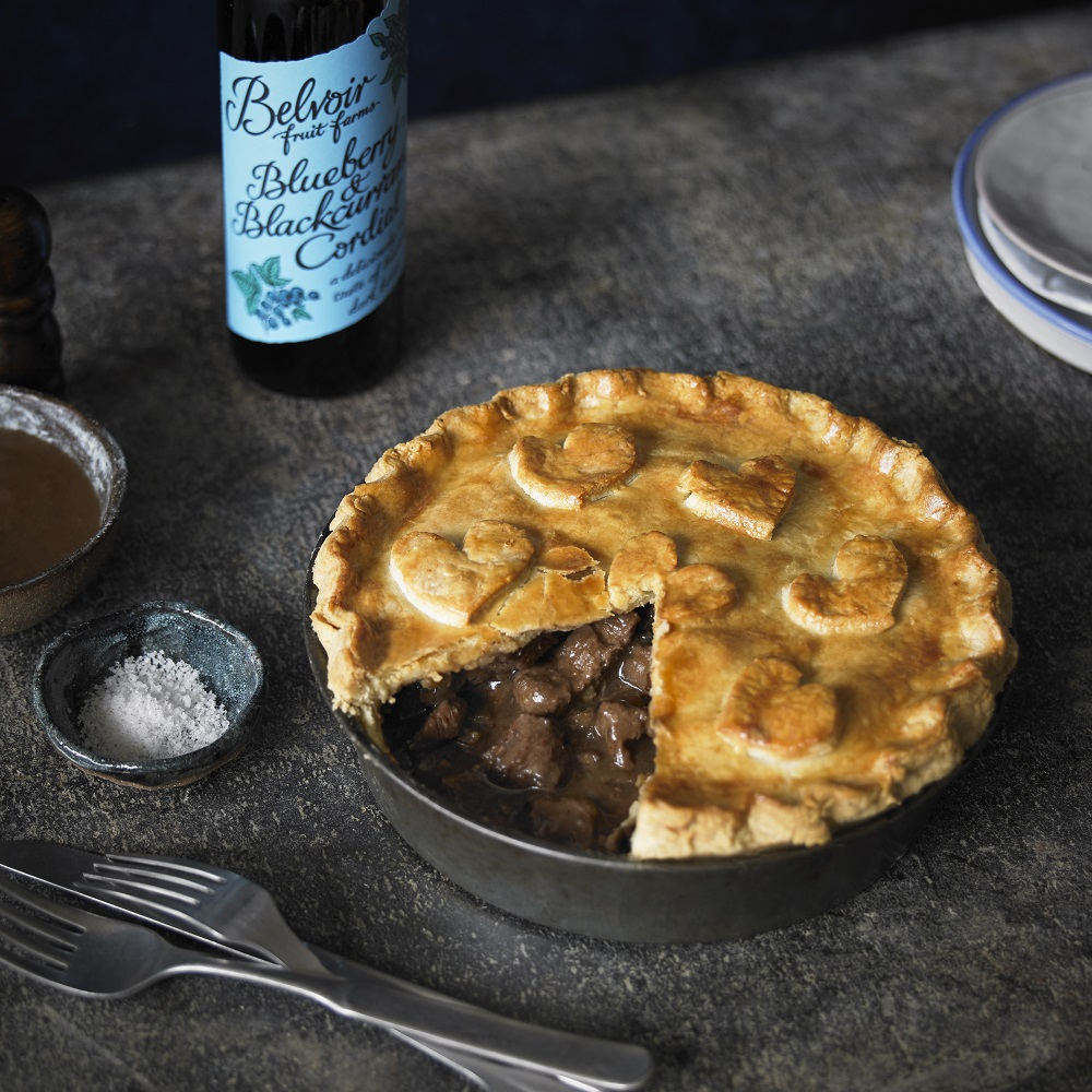 Beef Pie with Blueberry And Blackcurrant Cordial