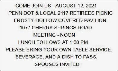 8-12 PennDOT & Retirees Picnic, Frosty Hollow