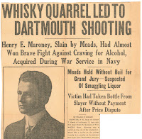 "A newspaper clipping with the heading ""Whiskey Quarrel Led to Dartmouth Shooting."""