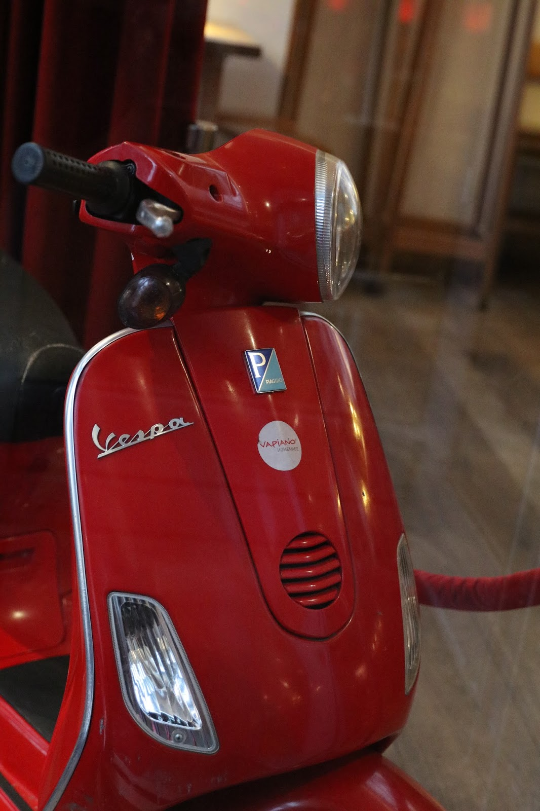 OldMotoDude: Vespa scooter spotted inside a restaurant in ...