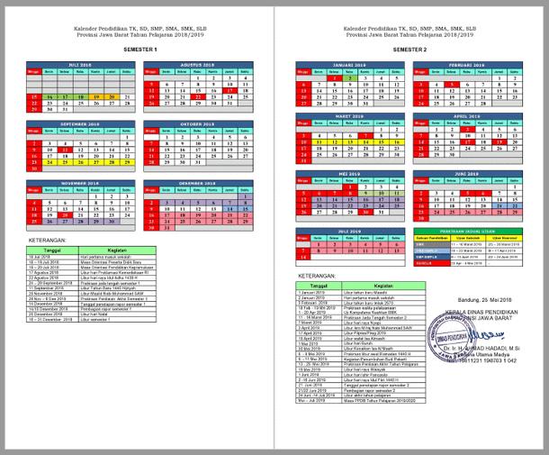 Kalender Pendidikan Tahun Pelajaran 2018/2019 Provinsi Jawa Barat
