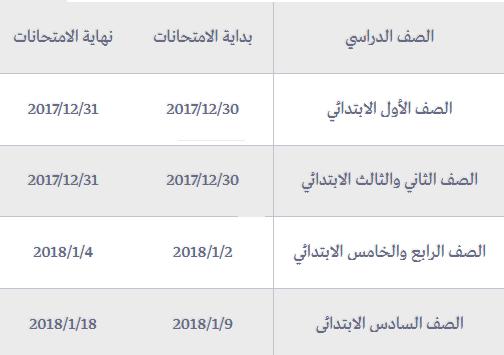 جدول امتحانات نصف العام للمرحلة الابتدائية