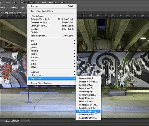 Start ReStyle from Filter menu in Photoshop