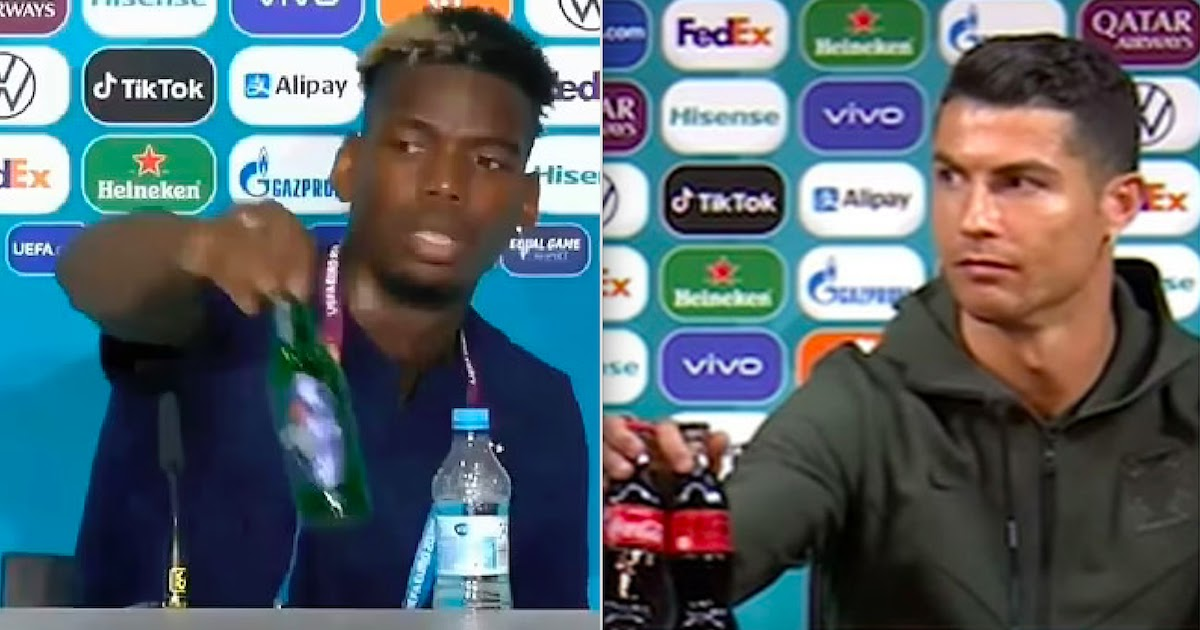 Ronaldo And Pogba Remove Coca-Cola And Heineken Bottles At Euro 2020 Match Conference Causing A Stir On The Financial Markets
