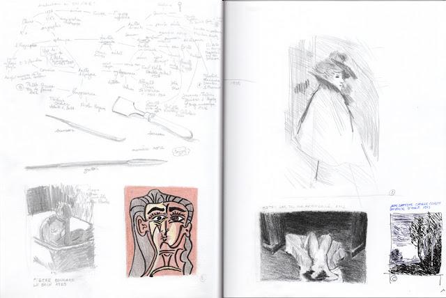Double page de croquis et de notes sur l'exposition Rien que pour vos yeux #2