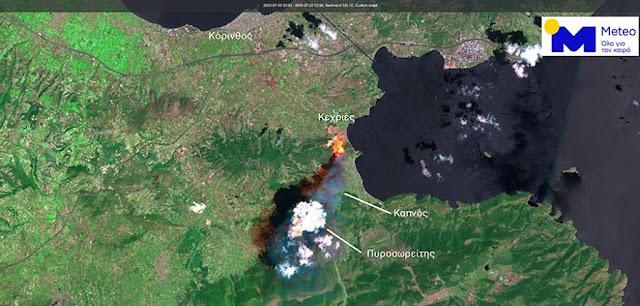 Έτσι φαινεται από το διάστημα η πυρκαγιά στις Κεχριές