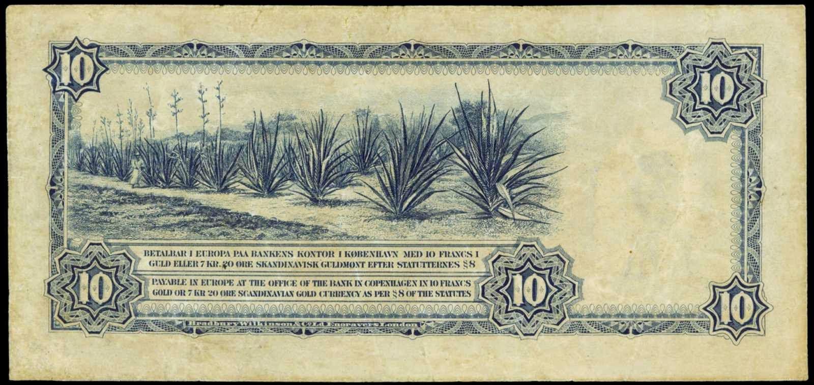 Danish West Indies banknotes 10 Francs