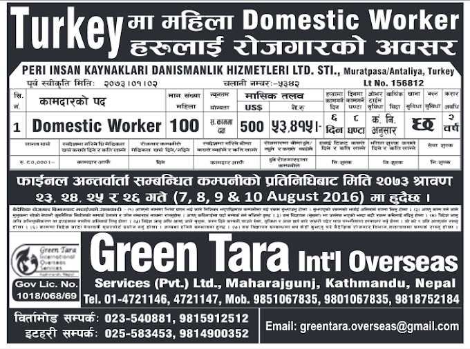 Jobs in Turkey for Nepali candidates Salary Rs 53,415
