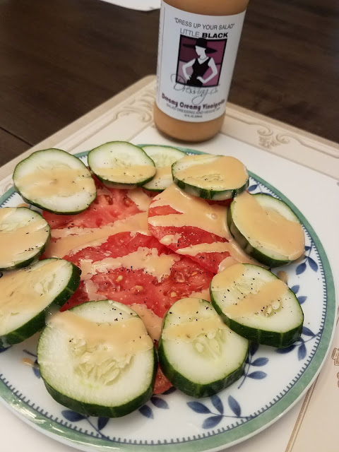 Creamy Dreamy Vinagarette is delicious over tomatoes and cucumbers