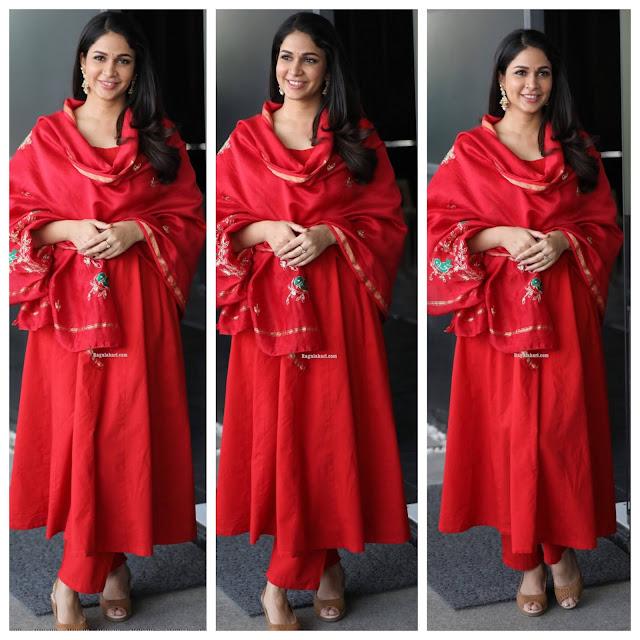 Lavanya Tripati in Red Salwar Kameez