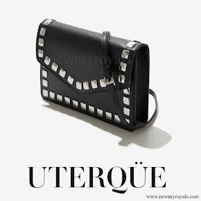Queen Letizia carries Uterque Studded messenger clutch bag
