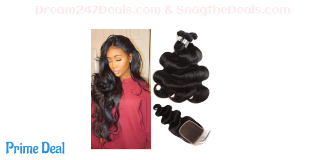 30% OFF  Youth Hair Peruvian Body Wave 3 Bundles with Closure (14 16 18+12) 9A Virgin Hair 3 Bundles with Closure Free Part Peruvian Human Hair Extensions with Lace Closure Natural Color Mix Length