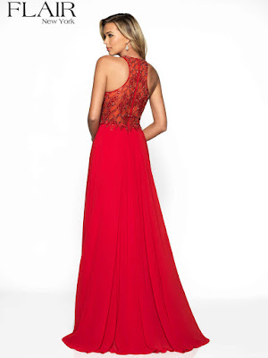 High Neck Chiffon Flair double silt Prom Red color dress back side