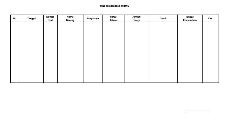 Contoh Buku Pengeluaran Barang Dalam Inventaris Barang Sekolah Blog Edukasi