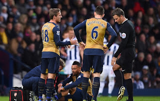 Arsenal midfielder Francis Coquelin out with an injury