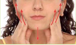 Longitudinal massage stroke for the masseter muscle