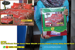 Sprei California Verena Queen Fitted 160×200 2 Sarung Bantal 2 Sarung Guling Merah Floral Ornamen Dewasa