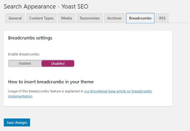 Yoast SEO Breadcrumbs settings