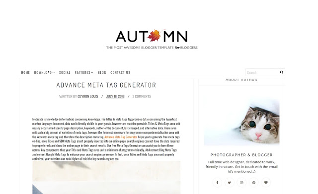 Autumn Personal Blogger Template