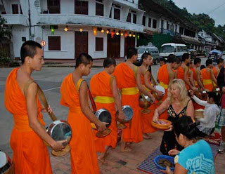 Pat Dunlap alms Giving Luang Prabang Laos Buddhist Monks