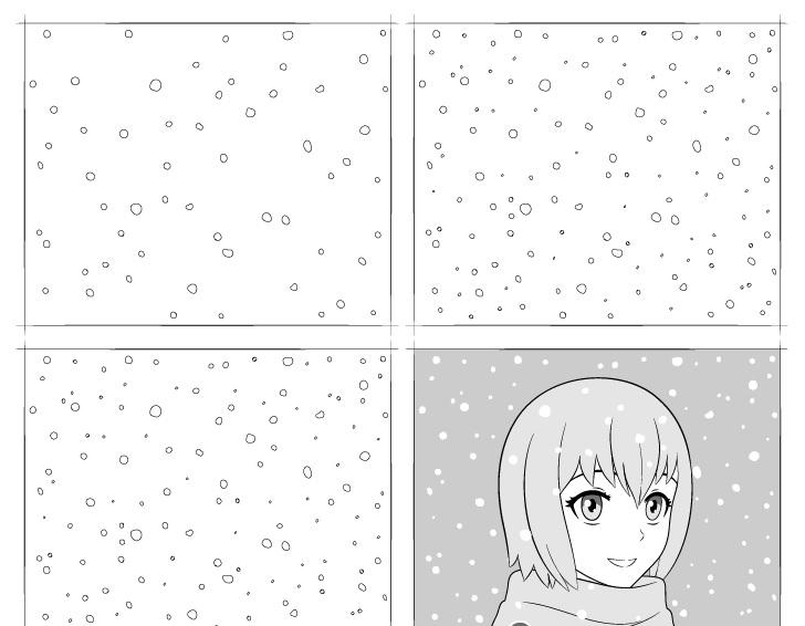 anime menggambar salju selangkah demi selangkah