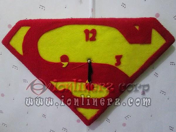 Jam Dinding Flanel Karakter Kartun Logo Superman