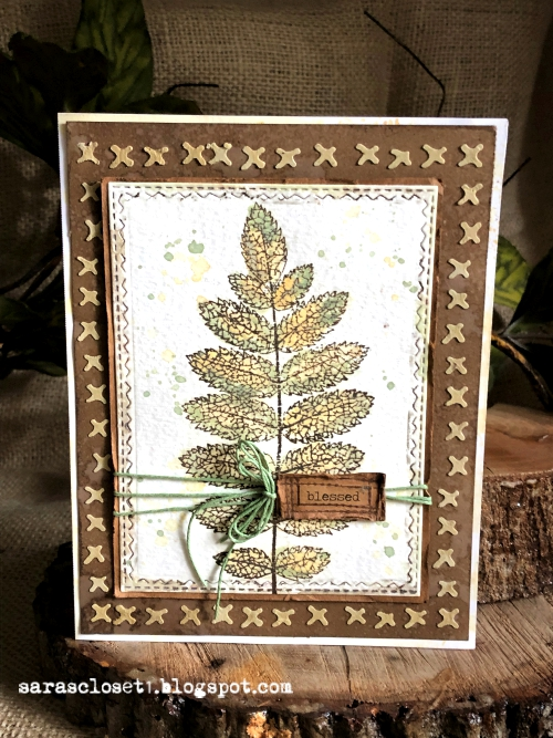 Sara Emily Barker https://sarascloset1.blogspot.com/2019/09/blessed.htmlMixed Media Autumn Card Tim Holtz Stampers Anonymous Pressed Foliage 1
