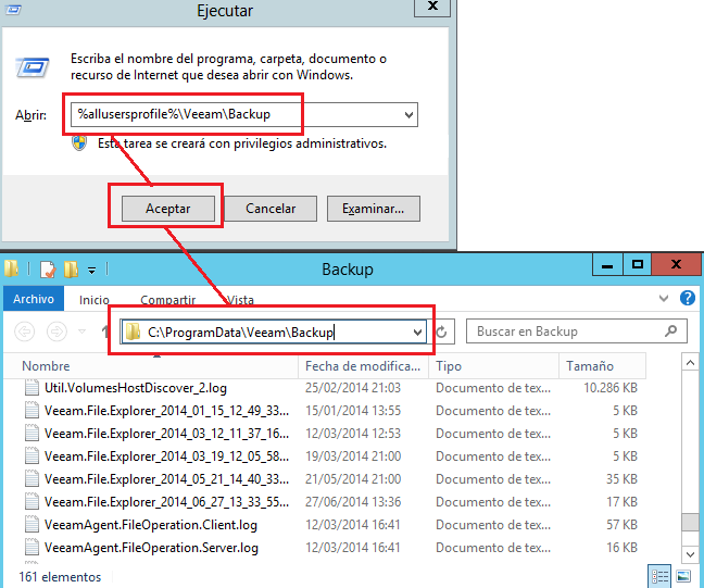 Veeam backup: logs