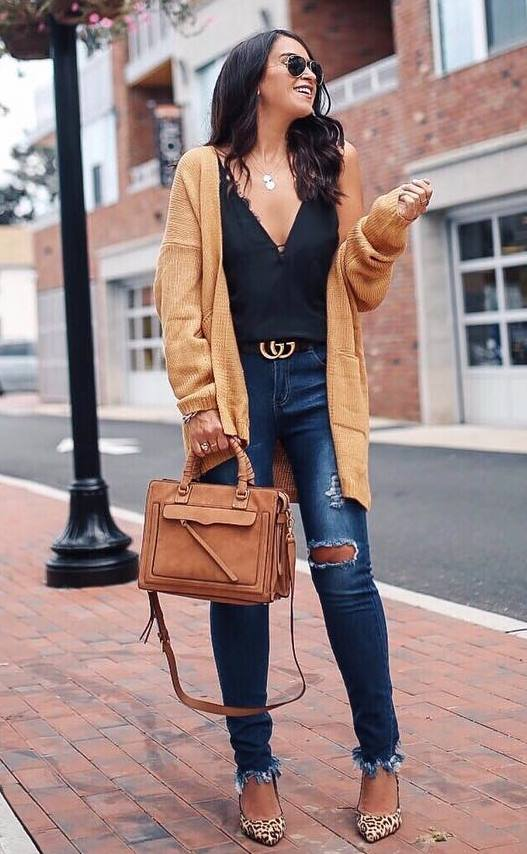 how to style a cardigan : jeans + brown bag + heels + black v-neck top