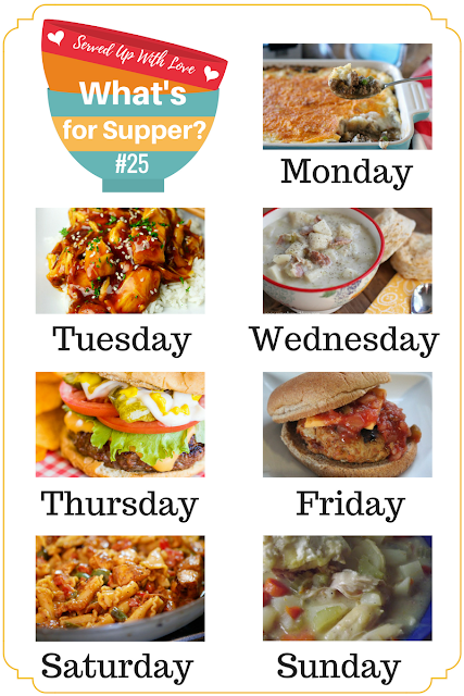 What's for Supper Sunday meal plan is full of quick and easy recipes like Instant Pot Honey Garlic Chicken, Shepherd's Pie, The Perfect Hamburger, and so much more.