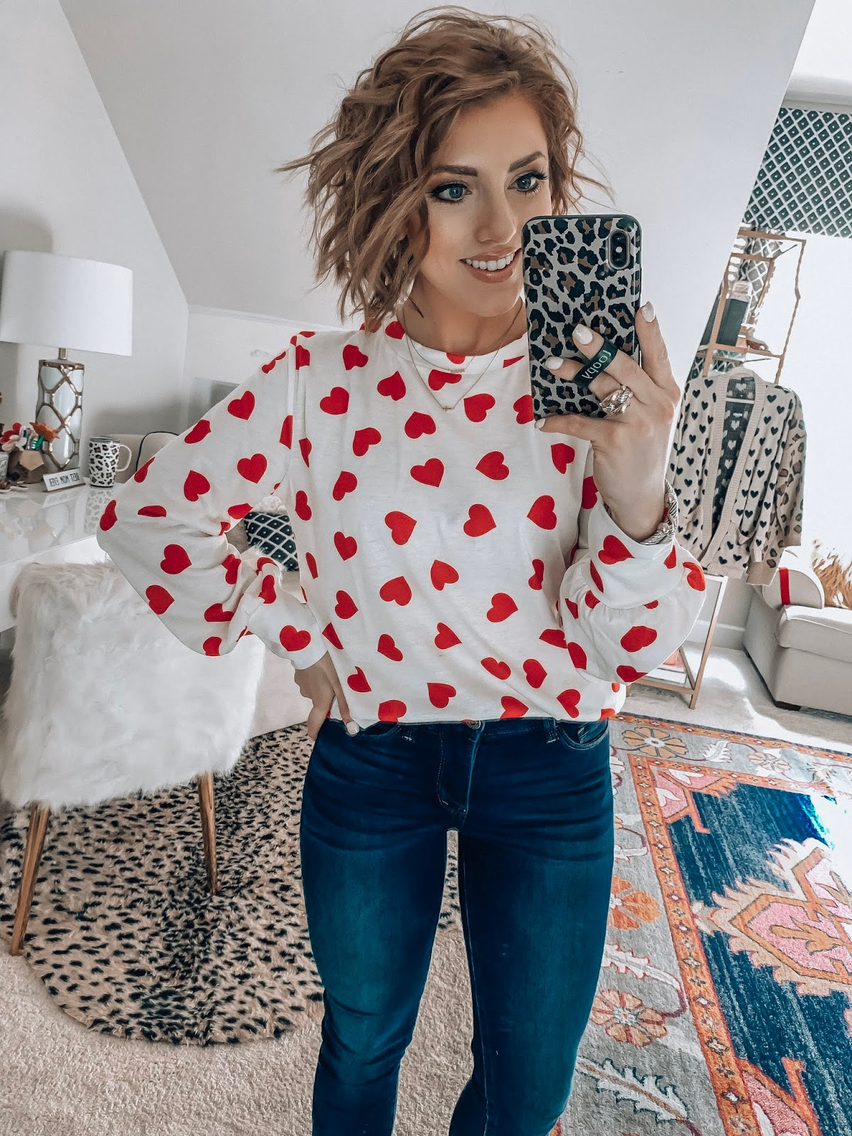 Recent Amazon Finds - Under $30 Heart Print Sweatshirt for Valentine's Day - Something Delightful Blog #AmazonFashion #RecentFinds #Hearts #ValentinesDay #AffordableFashion
