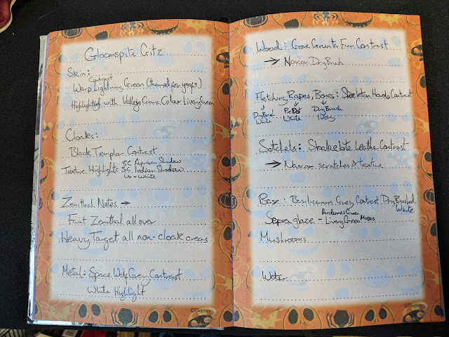Recipes written into 'Nightmare Before Christmas' journal
