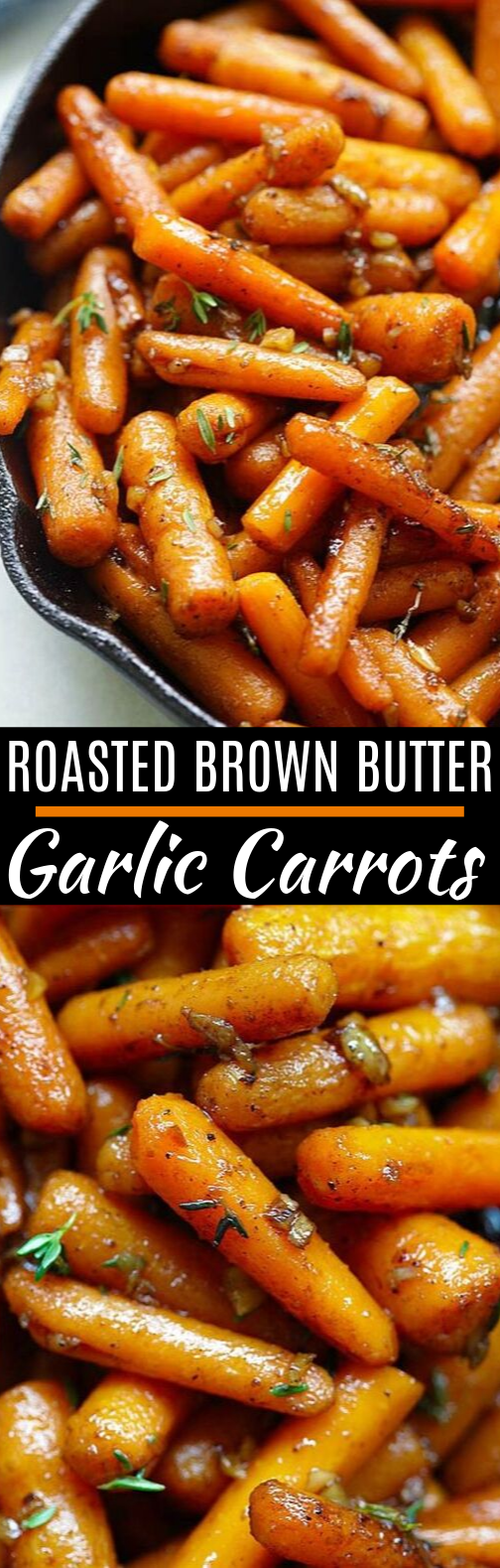 Brown Butter Garlic Honey Roasted Carrots #vegetarian #sidedish