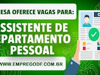 Emprego para Assistente de Depto Pessoal ( R$ 1.700,00 )
