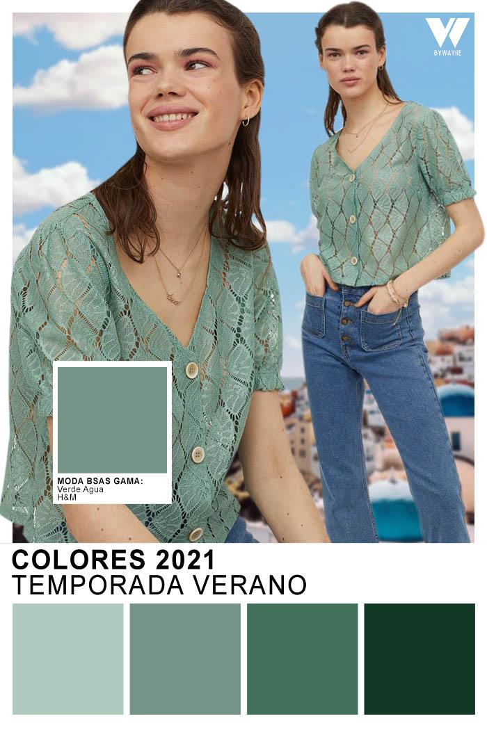 Colores de moda primavera 2021 Temporada Verano Verde Agua