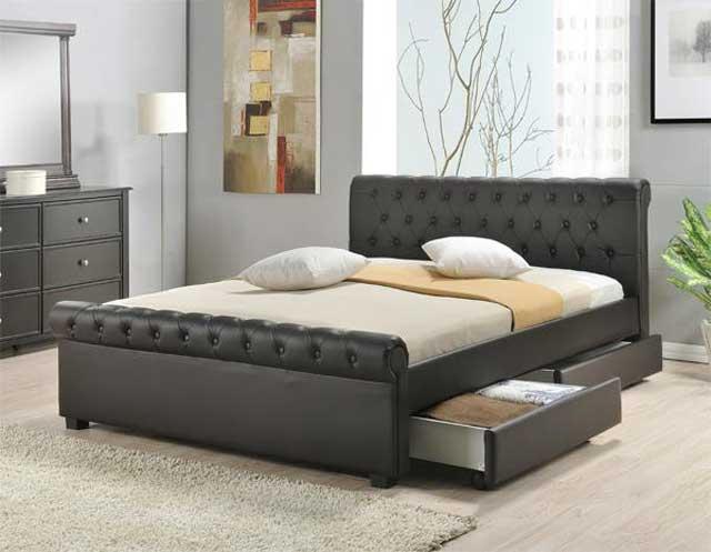 Tempat tidur minimalis kulit