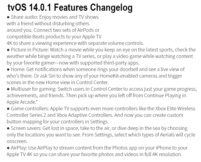 tvOS 14.0.1 Features Changelog