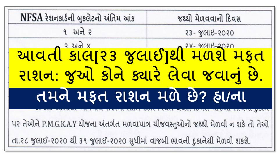 Gujarat Free Ration Will be Started Tomorrow: Know Your Ration Date