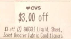 $3.00/2 Snuggle CVS crt store Coupon (Select CVS Couponers)