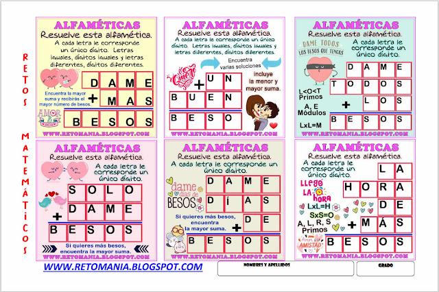 Desafíos matemáticos, Retos matemáticos, Problemas matemáticos, Alfaméticas, Criptoaritméticas, Criptograma, Criptosuma, Alfametic, Juego de letras, Suma de palabras
