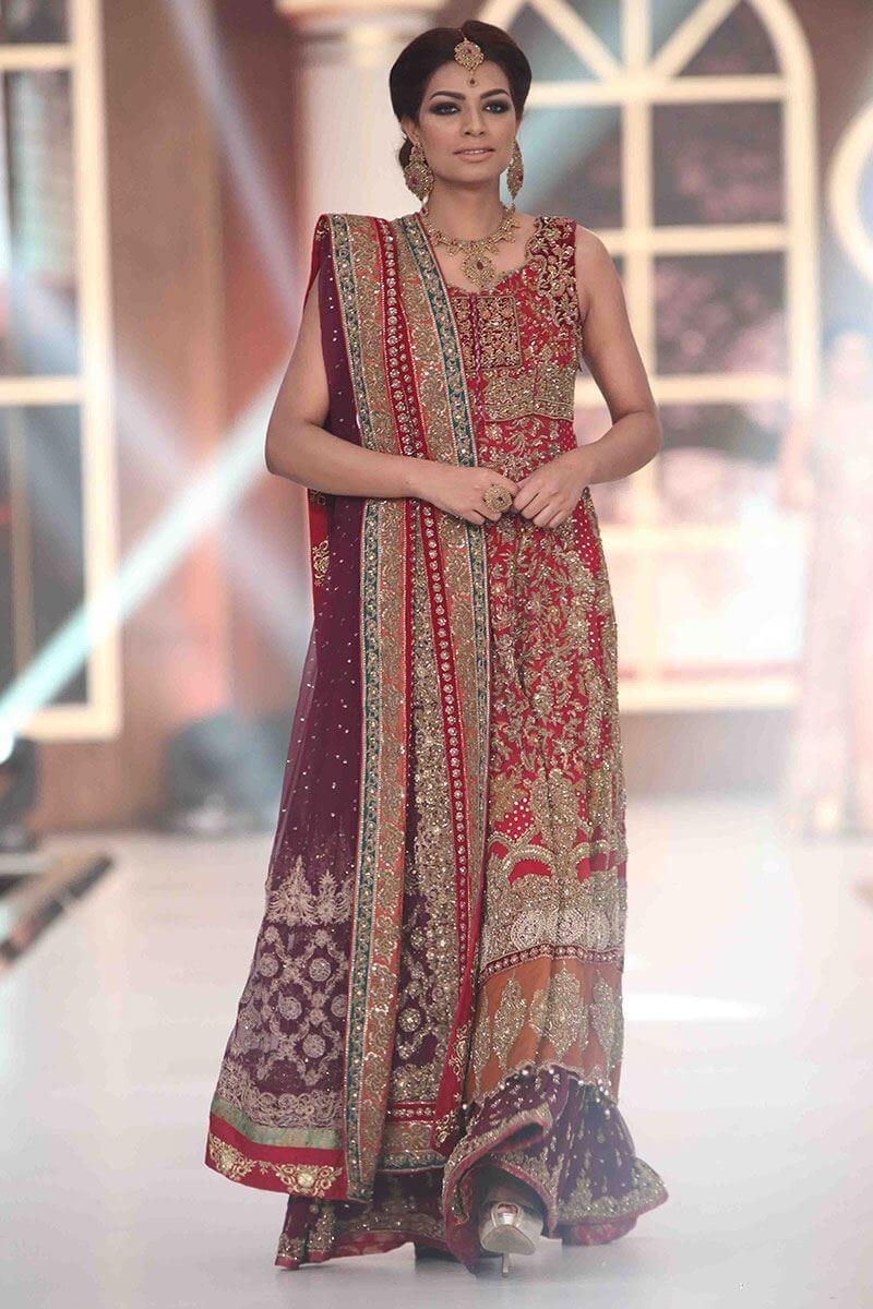 Red and purple Aisha Imran bridal dress