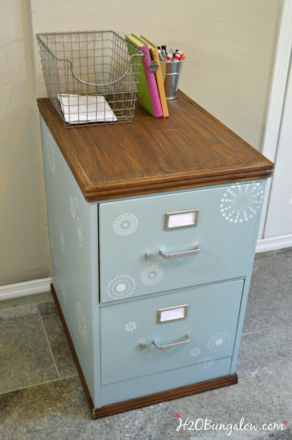 Give a filing cabinet a brand new look with paint and wood trim | featured at Talk of the Town - KnickofTime.net