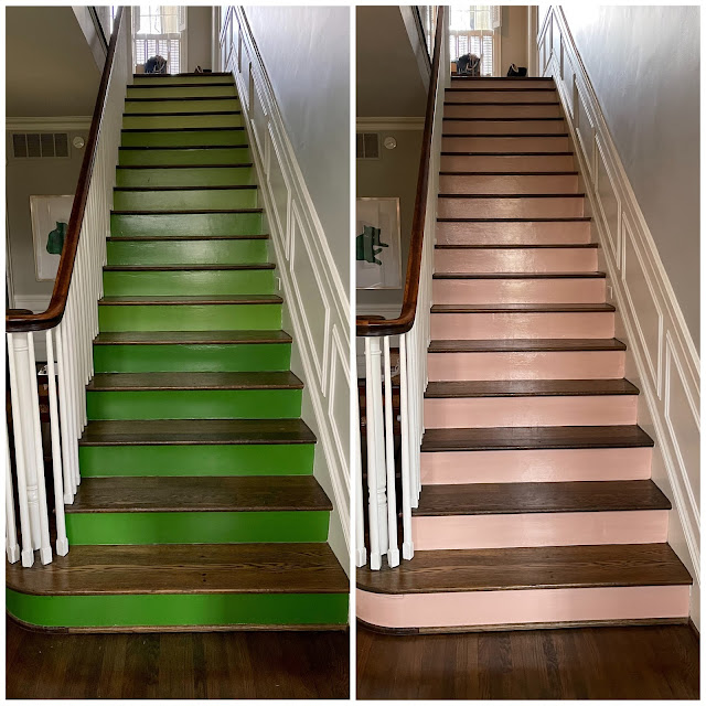 green staircase risers pink staircase risers